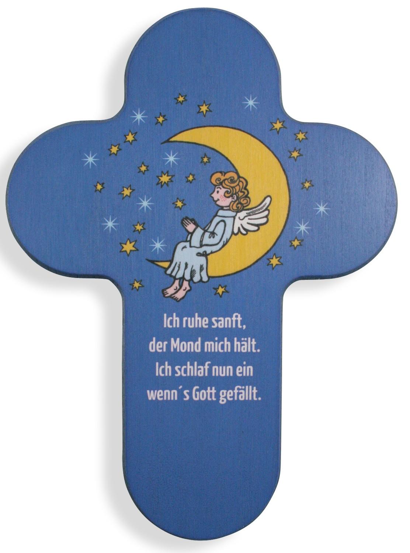 Kinderkreuz Ich ruhe sanft, der Mond... Holz 16,5 cm