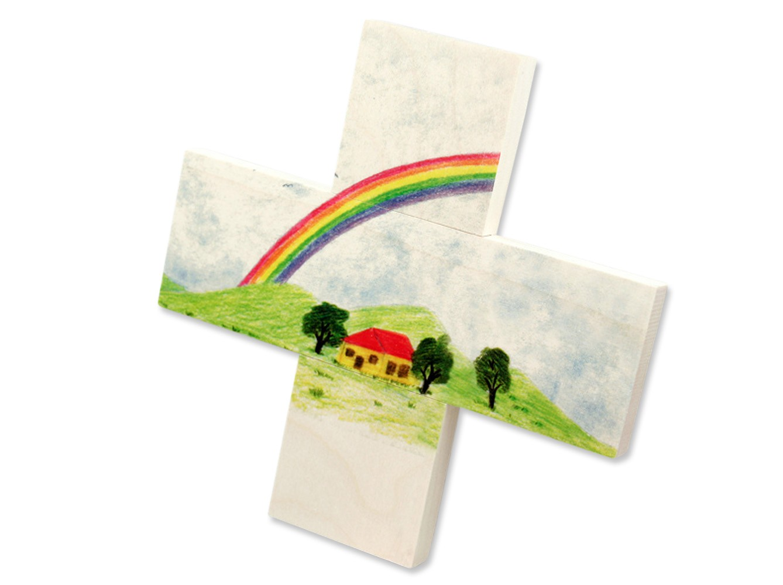 Kinderkreuz regenbogen holz 12 x 12 cm