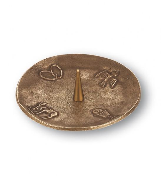 kerzenst nder 4 christliche symbole bronze 13 cm. Black Bedroom Furniture Sets. Home Design Ideas