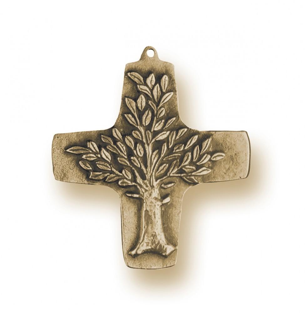 Wandkreuz Lebensbaum 10 cm Bronze Kommunion