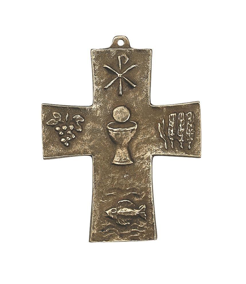 Kommunion Symbolkreuz 10 cm Bronze Wandkreuz
