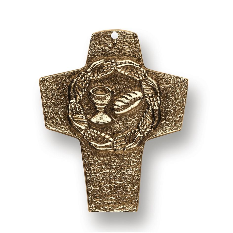 Wandkreuz Kommunion Brot und Wein 10 cm Bronze