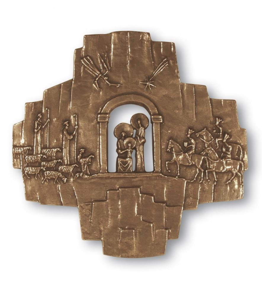 Wandkreuz Krippenkreuz 32 cm Bronze