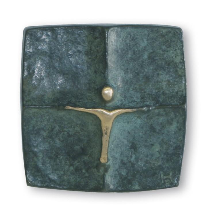 Wandkreuz patiniert 5 x 5 cm Bronze