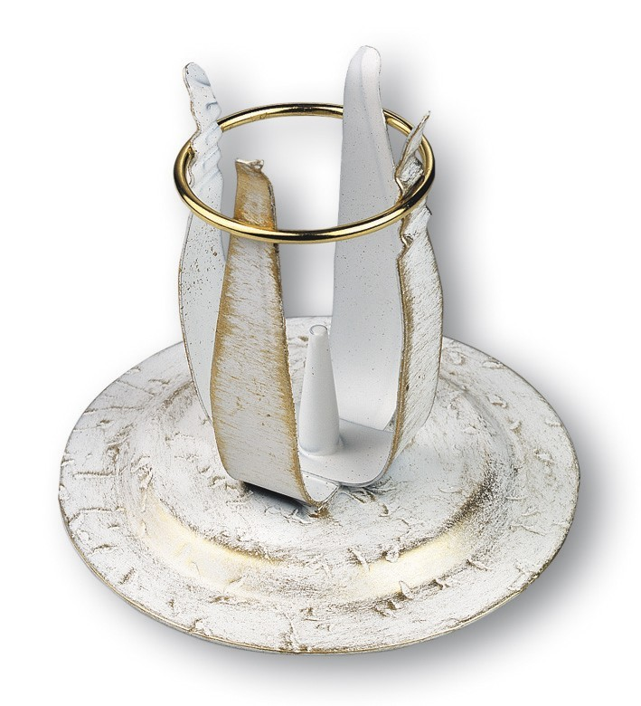 kerzenst nder schmiedeeisen wei gold lackiert 10 cm. Black Bedroom Furniture Sets. Home Design Ideas