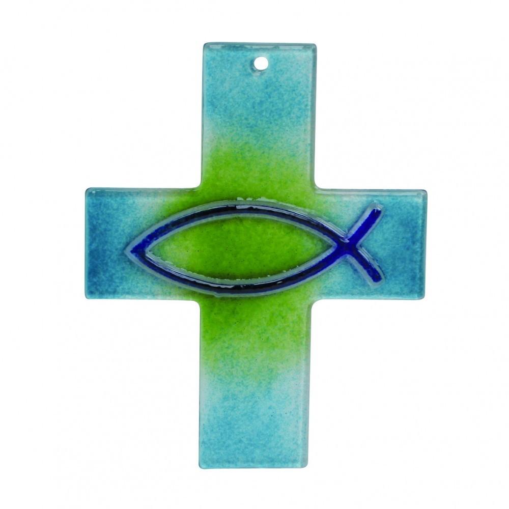 Taufe Symbolkreuz Fisch blau-grünes Fusingglas 15 cm
