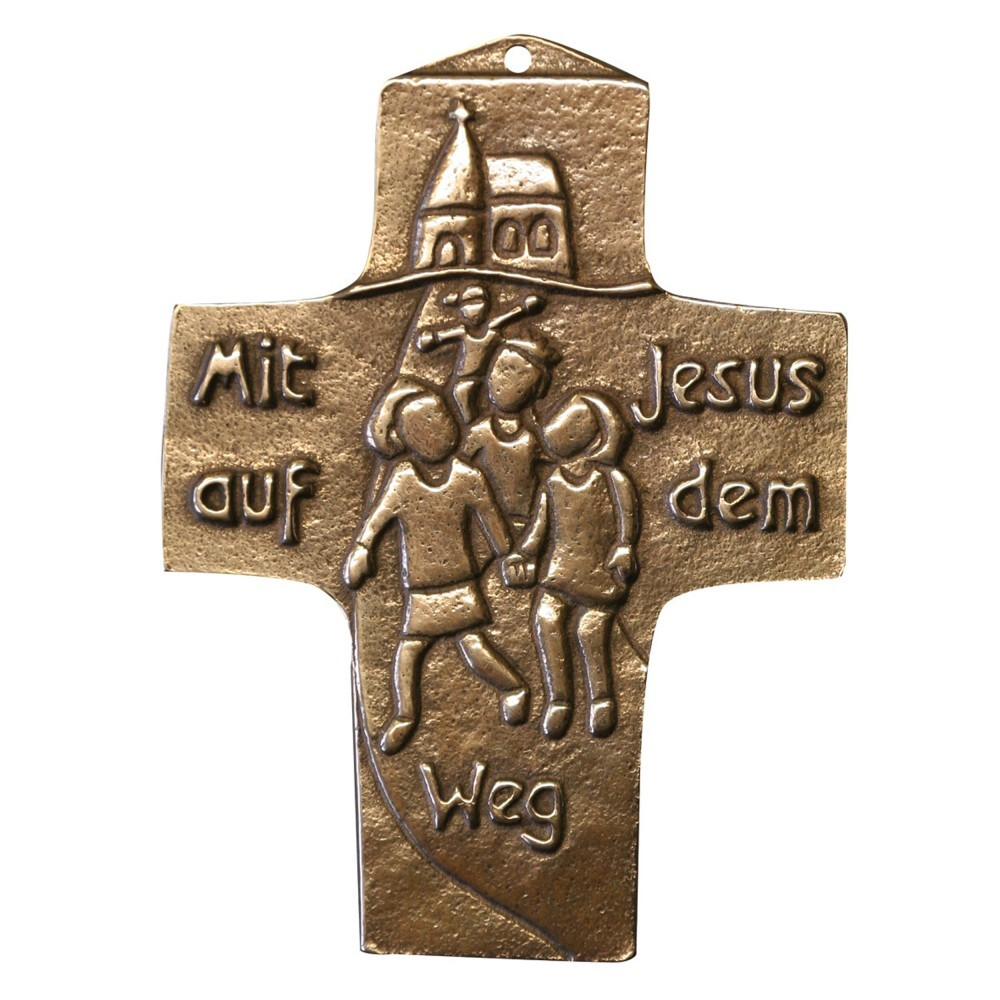 Bronzekreuz Mit Jesus auf dem Weg 10 cm Wandkreuz