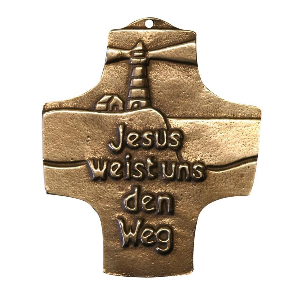 Wandkreuz -Jesus weist uns den Weg- 8 cm Bronze