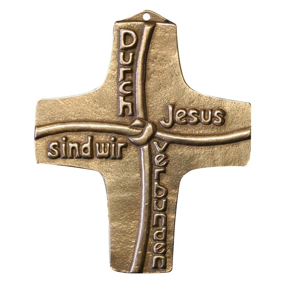 Kommuniongeschenk Kreuz Durch Jesus sind... 8 cm Bronze