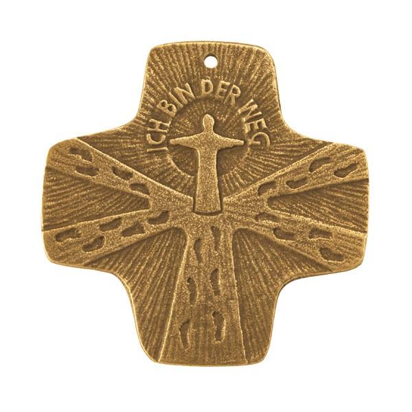 Kommunion-Kreuz Ich bin der Weg 7x7cm Bronze
