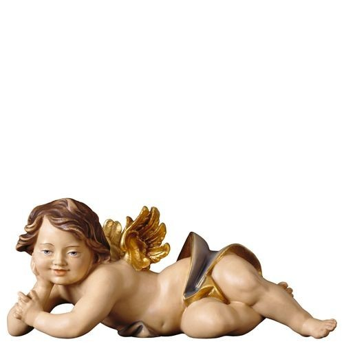 Engelfigur Putte liegend rechts Holz, geschnitzt handbemalt