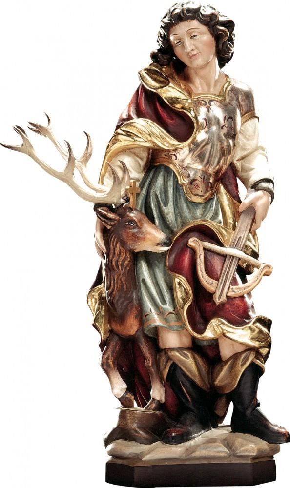 Kerzenständer Holz Geschnitzt ~  Heiligenfigur Hubertus mit Hirsch Holz, geschnitzt handbemalt